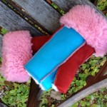 sheepskin mittens in red pink and turquoise