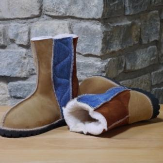 denim used with sheepskin in wildside boot for autumn