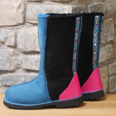 Sheepskin Boots Calf Height in Black & Ocean with Embroidered Braid