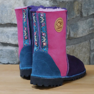 Sheepskin Boots in Pink and Purple