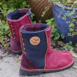 Sheepskin Boots in Indigo & Wine with embroidery