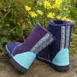 Sheepskin Boots in Navy & Purple with Embroidered Braid