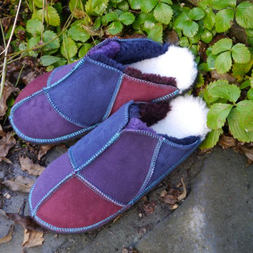 Sheepskin Slippers in Navy Purple & Wine