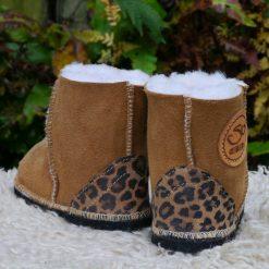 Kid's Sheepskin Boots in Spice with Leopard Heels