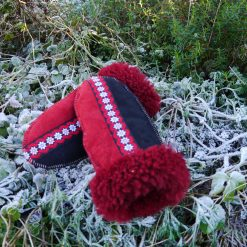 Sheepskin Mittens in Red & Black with Embroidered Braid