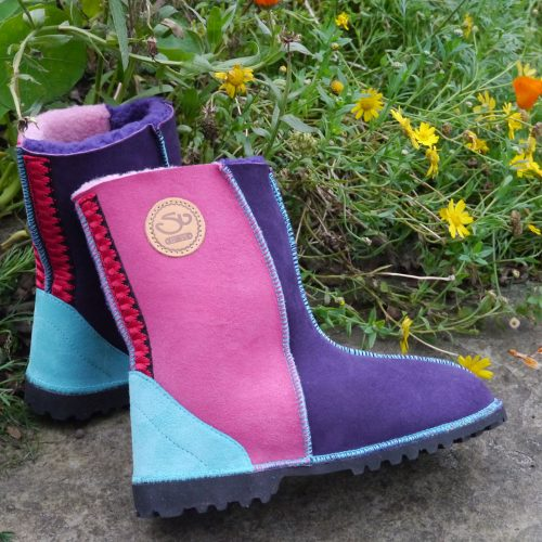 Sheepskin Boots in Purple & Pink