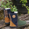 Sheepskin Boots in Fern & Indigo with Embroidery