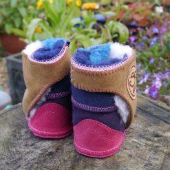 Baby Sheepskin Boots in Ocean Spice & Pink