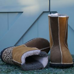 Sheepskin Boots in Bark & Spice with Leopard Heels