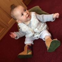 Baby Sheepskin Boots in Ginger & Green