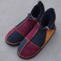 Sheepskin-Slippers-in-Damson,-Ginger-&-Indigo