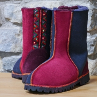 Wine and Indigo sheepskin boots