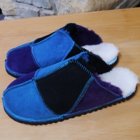 Sheepskin Mules in Ocean, Black & Purple