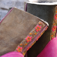 Sheepskin Boots in Bark & Willow with Embroidered Braid