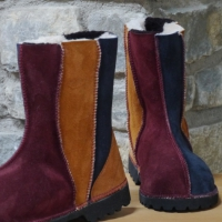 Traditional Sheepskin Boots Wildside Design in Ginger, Merlot & Navy