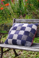 Sheepskin Cushion in Grey Patchwork