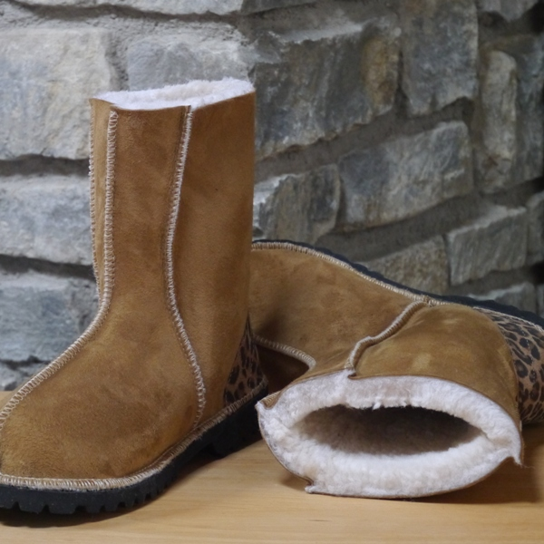 Sheepskin Boot in Spice with Leopard Heel Size 5
