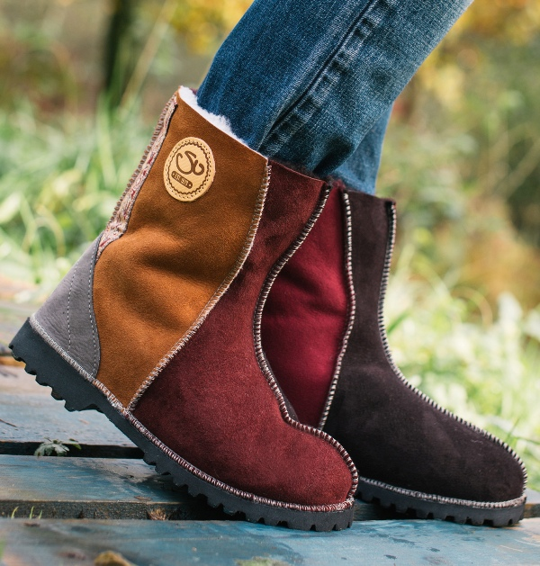Traditional Sheepskin Boots in Autumn Colours with Embroidered Braid
