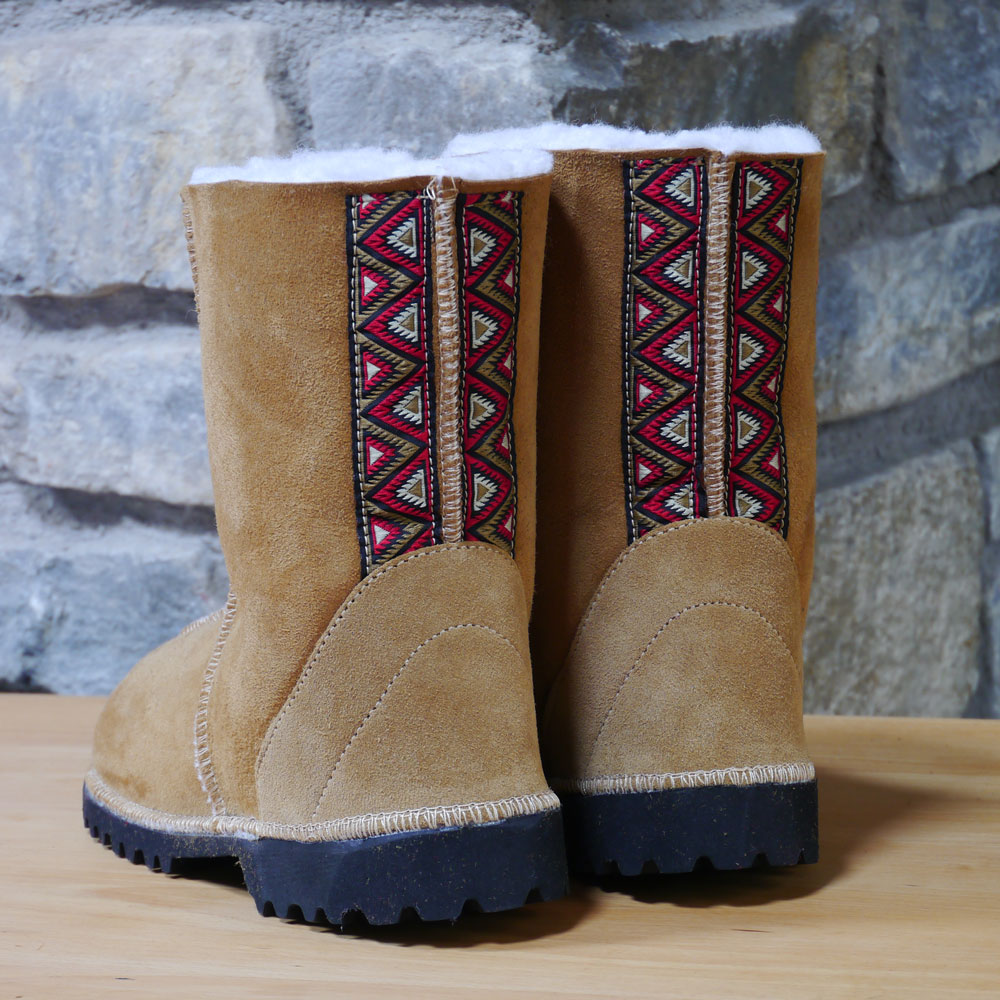 Sheepskin Boots in Spice with Embroidered Braid