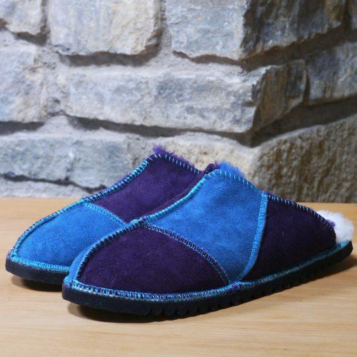 Sheepskin Mules in Ocean & Purple