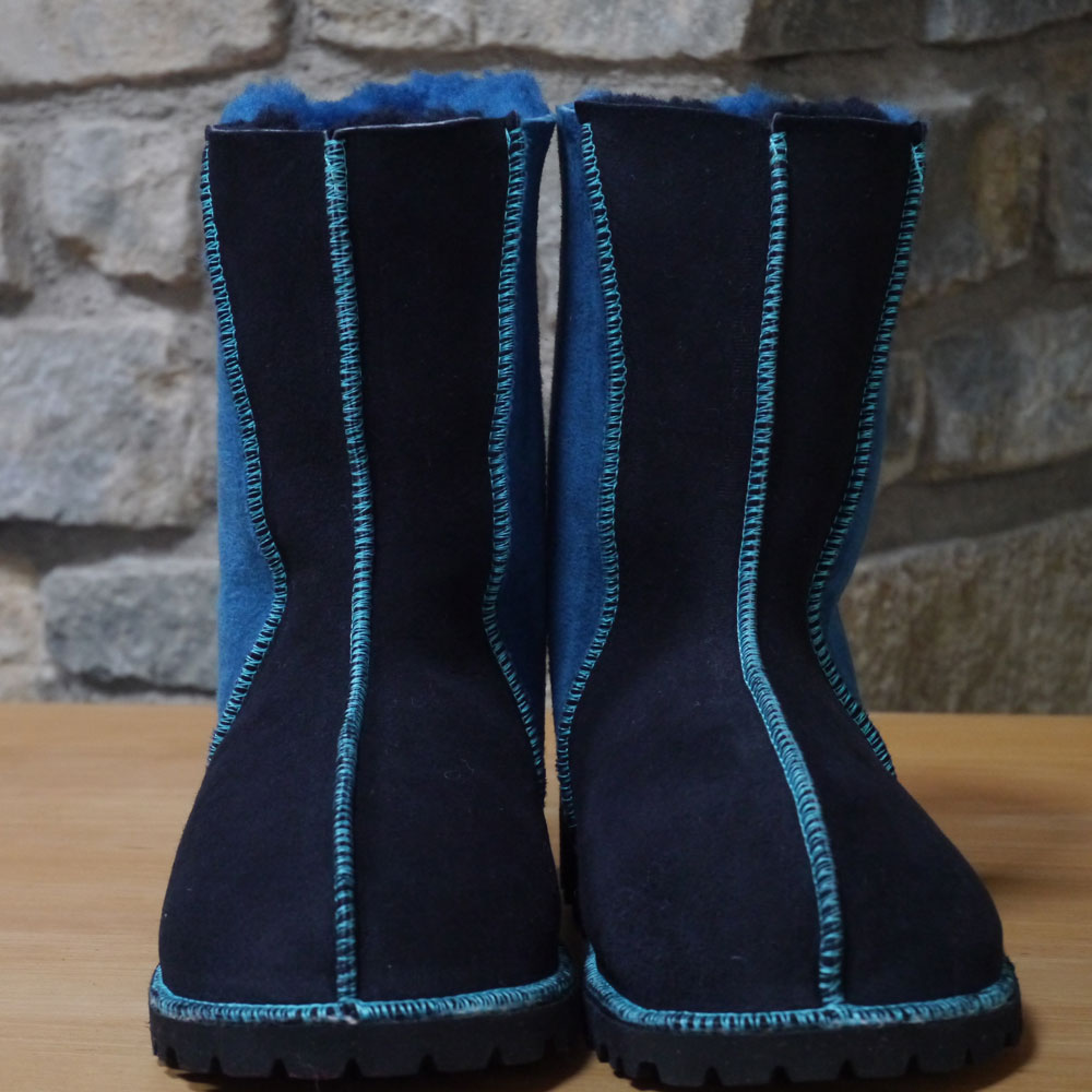 Sheepskin Boots in Navy and Ocean