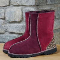 Sheepskin Boots in Damson and Wine with leopard heels