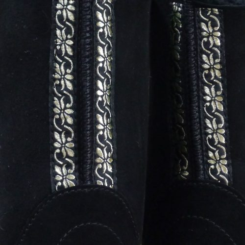 Sheepskin Boots in Black with Gold Embroidery