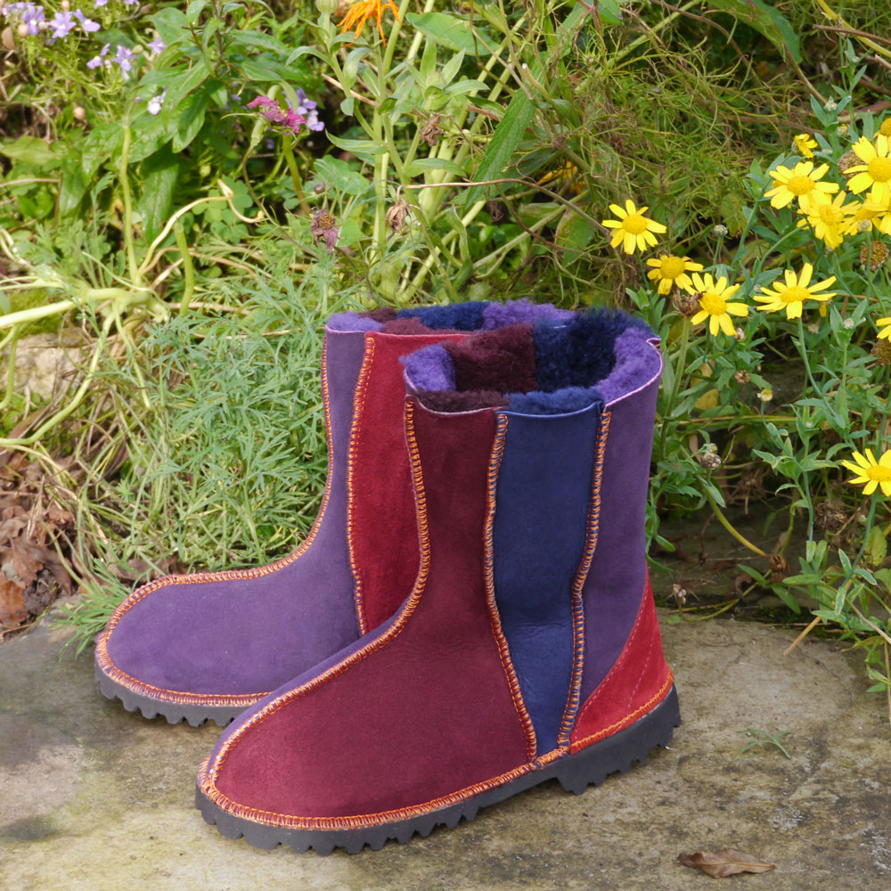 Sheepskin Boots in Damson Navy & Purple