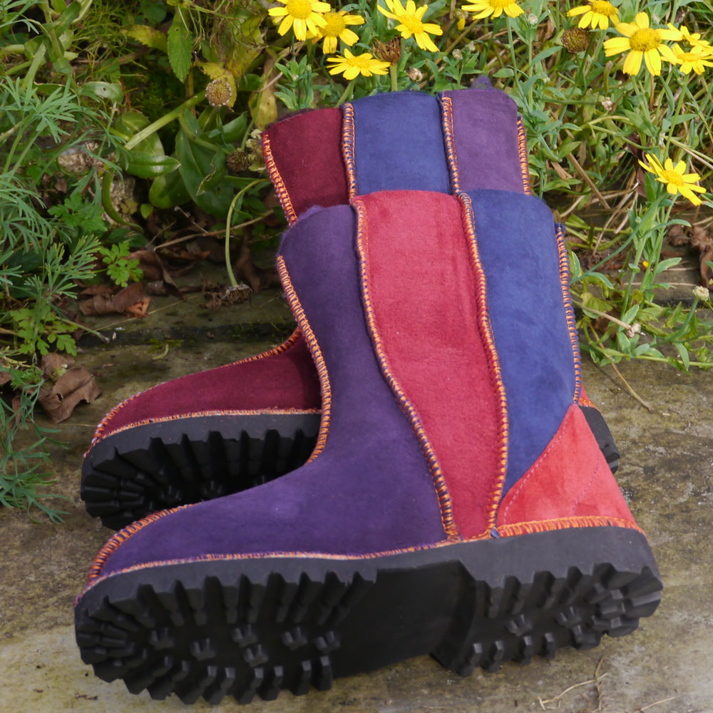 Sheepskin Boots Wildside in Damson Navy & Purple