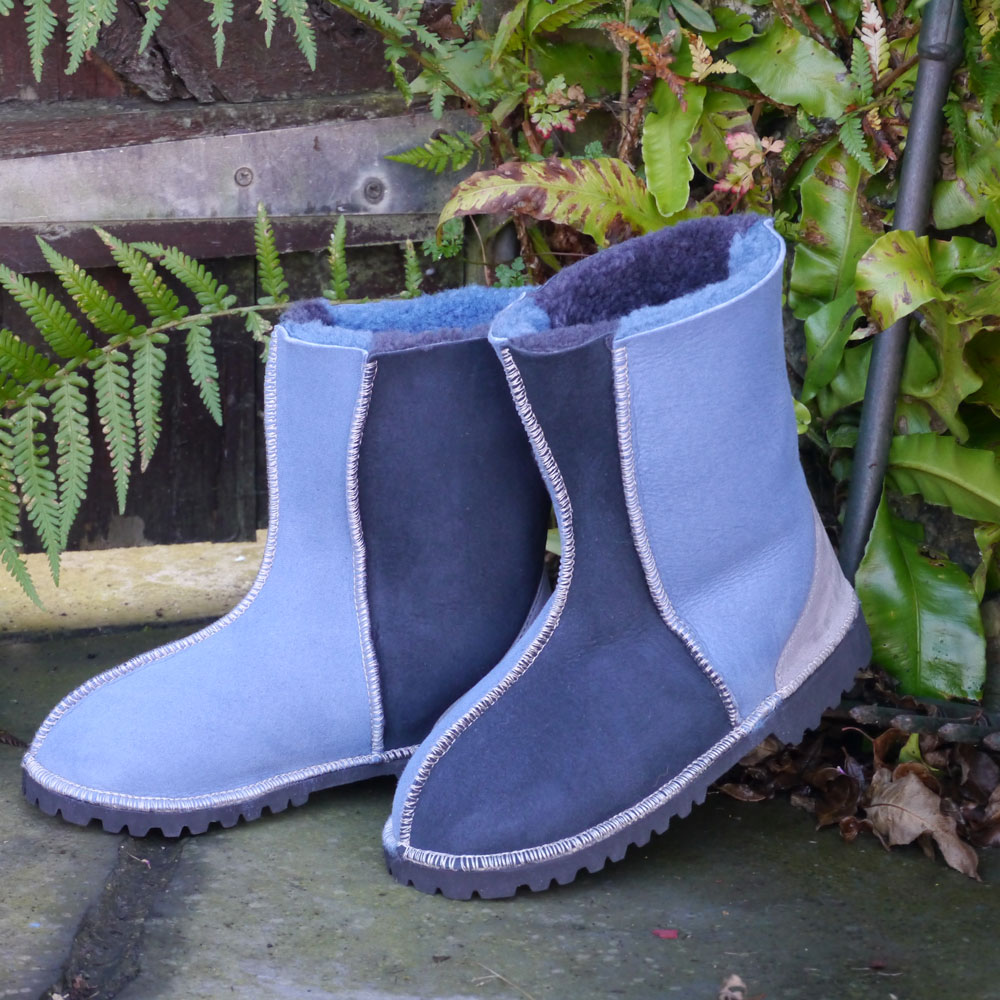 Sheepskin Boots in Denim Blue & Grey