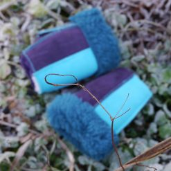 Fingerless Sheepskin Mittens in Ocean & Purple