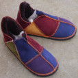 Sheepskin Slippers in Raj with Navy & Purple Toes