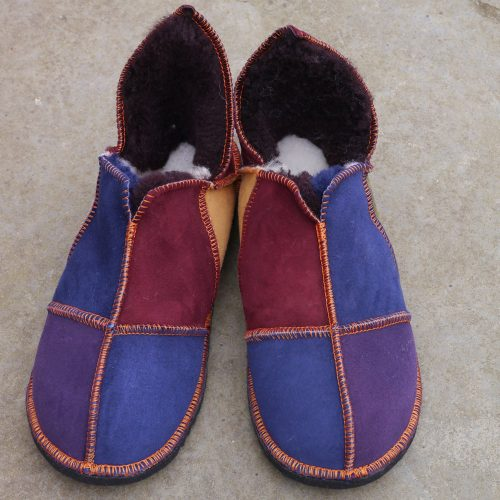 Sheepskin Slippers in Raj with Navy & Purple Toes