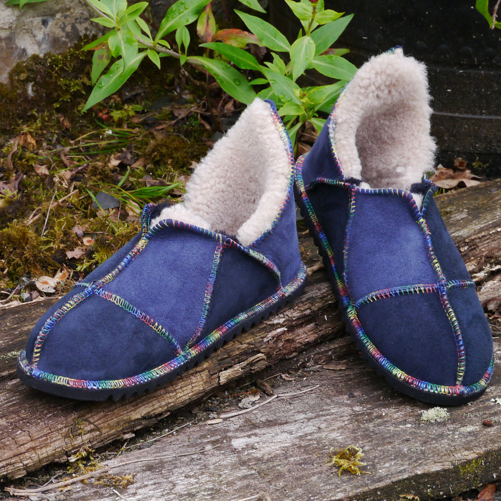Sheepskin Slippers in Indigo & Slate