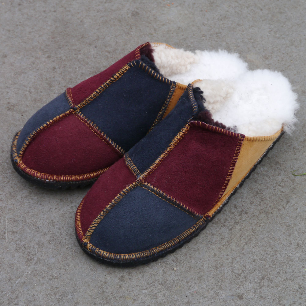 Sheepskin Mules in Damson Ginger & Indigo