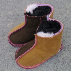 Baby Sheepskin Boots in Mocca & Spice with Pink Thread