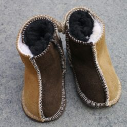 Baby Sheepskin Boots in Mocca Spice & Leopard