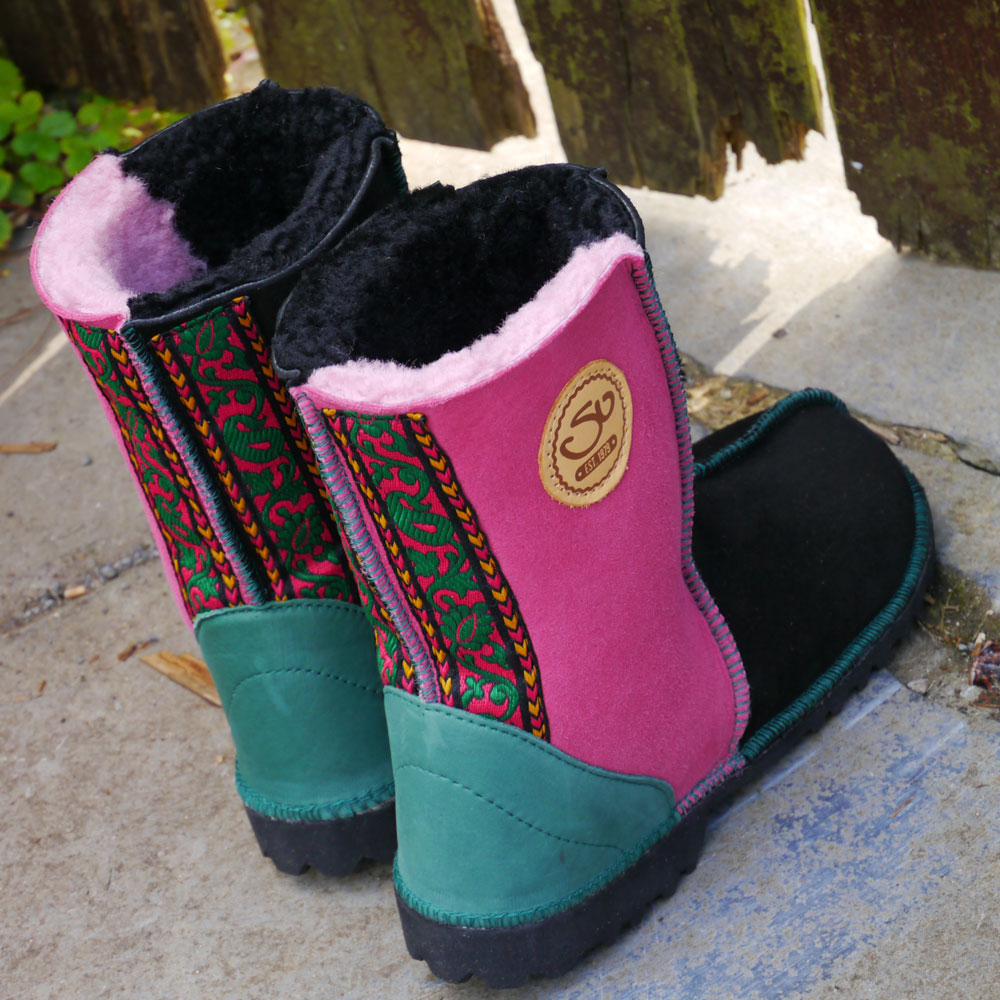 Sheepskin Boots in Black & Pink with Embroidered Braid & Green Leather Heels