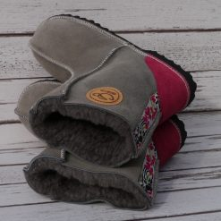 Sheepskin Boots in Vole with Embroidered Braid