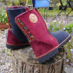 Sheepskin Boots in Indigo & Wine