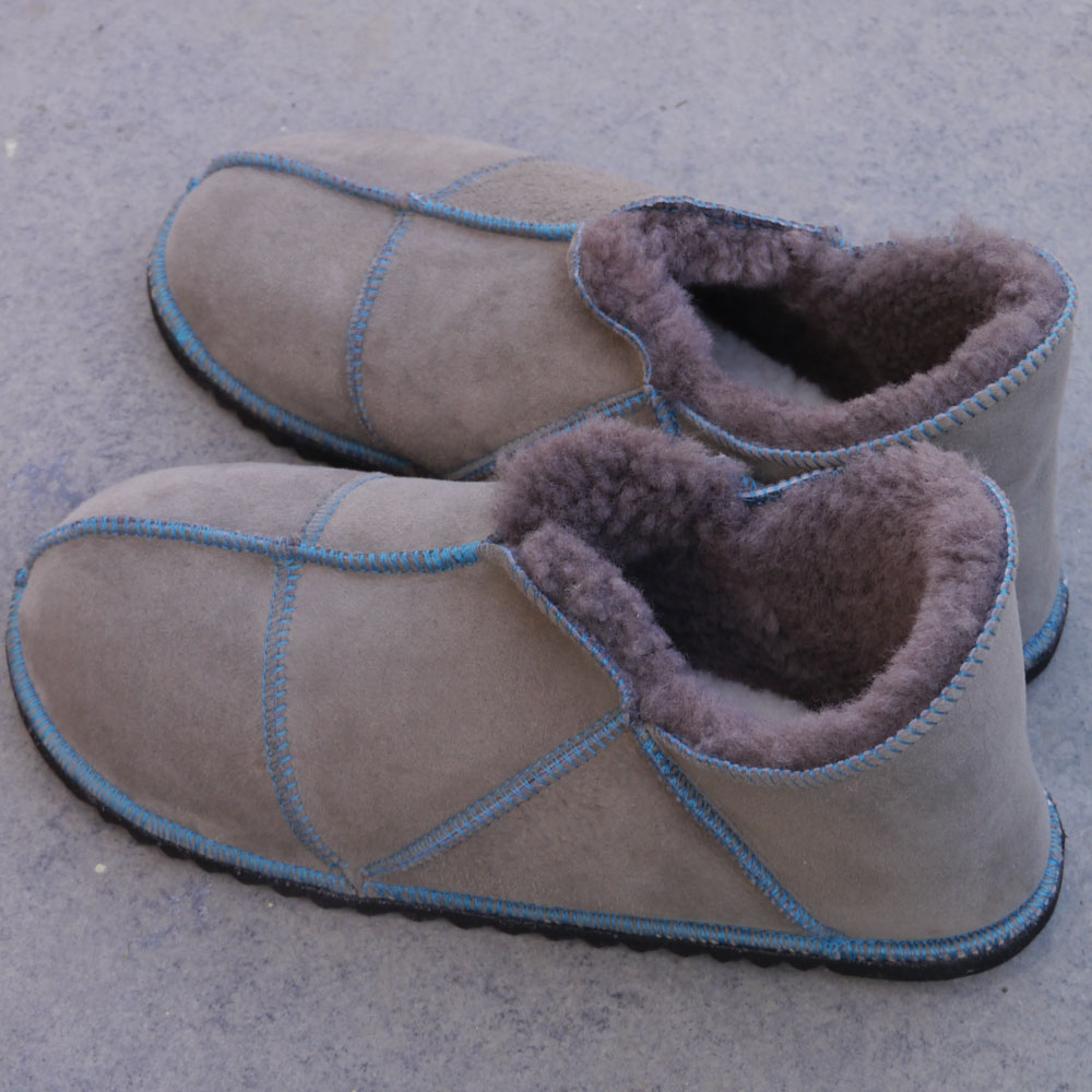 Sheepskin Slippers in Vole with teal stitching