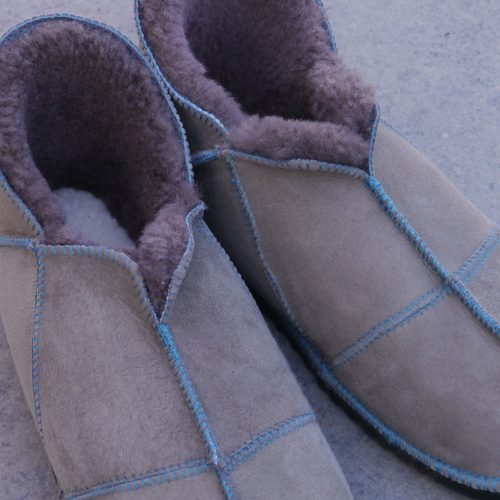 Sheepskin Slippers in Vole with teal stitiching
