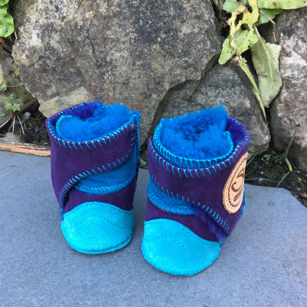 Baby Sheepskin Boots in Ocean & purple