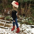 Kid's Sheepskin Boots in Red with Leopard Heels