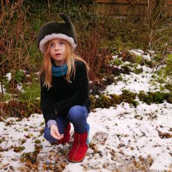Kid's Sheepskin Boots in Ocean & Red