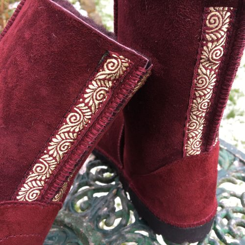 Sheepskin Boots in Damson with Embroidered Braid