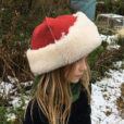 Sheepskin Hat in Red and Cream