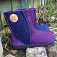 Sheepskin Boots in Navy & Purple with Two Braids