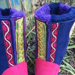 Sheepskin Boots in Navy & Purple