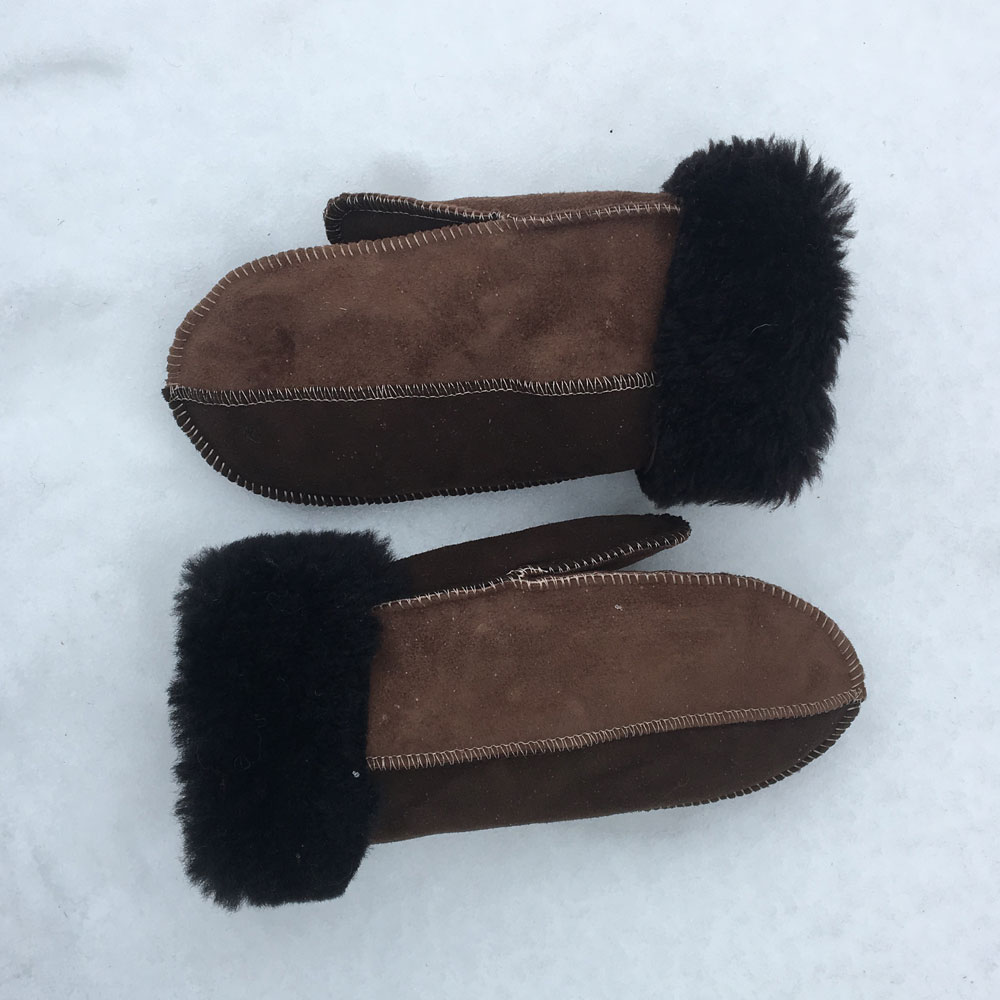 Sheepskin Mittens in Bark & Mocca